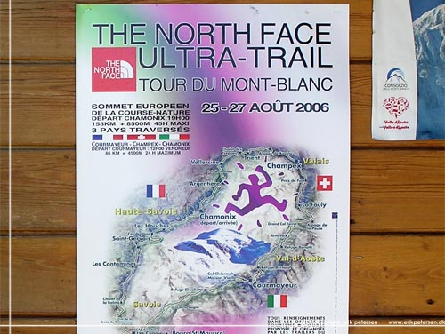 Plakat for 'Ultra Trail du Mont Blanc' (UTMB) eller 'The North Face Ultra Trail', her fra 2006